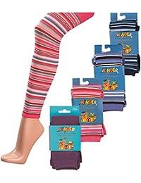1 Paar Baumwoll Kinder Strick Leggings mit Elasthan und Ringel Design