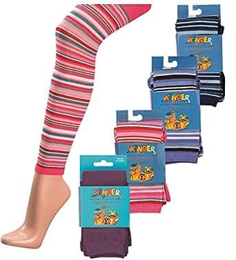 1 Paar Baumwoll Kinder Strick Leggings mit Elasthan und Ringel Design Farbe Jeans Größe 110-116