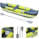 GEEZY 2 Man Person Inflatable Canoe Kayak Dinghy Boat with Double Paddle & Wet Bag
