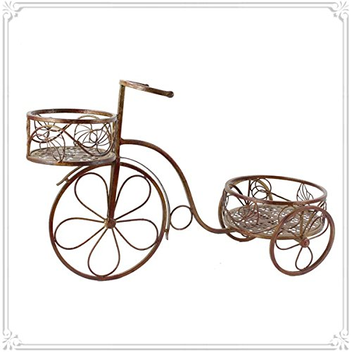 A&E Cane Bicycle Shaped brown Flower Stand for 2 Pots Garden Decor