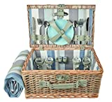 The Summer Living Company York - Cestino da Picnic a Righe, Colore: Blu/Beige