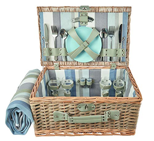 The Summer Living Company York Picknickkorb, gestreift, Blau/Beige