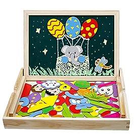 Giocattoli in Legno Lavagnetta Puzzle Magnetica Costruzioni Giochi e Gioco da Tavolo per Giochi Educativo Bambini Regalo di Compleanno Natale 3 4 5 6Anni