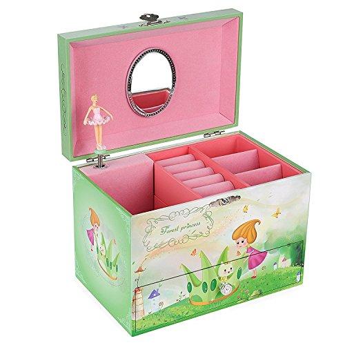 Songmics Schmuckkästchen Spieluhr Kinder Mädchen Ballerina JMC005 Ovaler Holz-spiegel
