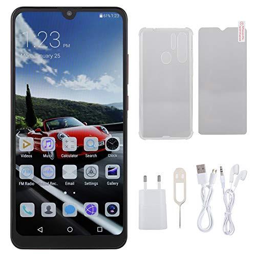 ASHATA 6.3inch HD Water Drop Screen Handy, 3G Red Smartphone Vollbild Unterstützung Gesichtserkennung, Dual Card Dual Standby für Android 9.1(Schwarz) Red Unlocked Smartphone