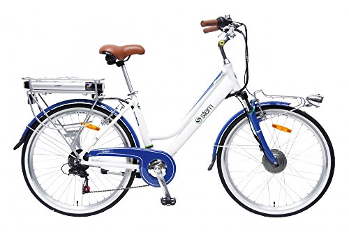 STEM Elektrofahrrad E-Bike Samsung Lithium Akku 26' 250W Shimano 6-Gang Elektromotor inkl. USB, Farbe:weiß-blau -
