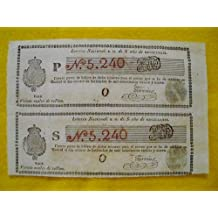 Antiguo Documento - Old Document : 2 BILLETES LOTERIA NACIONAL ESPAÑA 1839. Fernando VII. Veinte Reales de Vellón