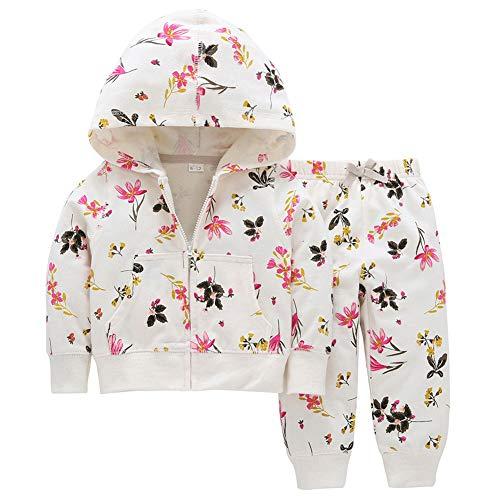 Gyratedream Baby Kleidung Set Mädchen Zipper Hoodie + Hosen Süße Printed Trainingsanzüge Kapuzenjacke Hose 2Pcs Outfit für 0-4 Jahre Kinder