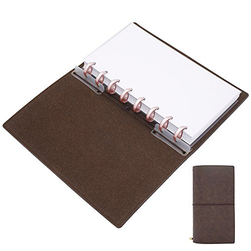 Discagenda Discbound Travelers Notebook Crazy Horse Vegan Faux Leather 8.3x4.3in Inserts Refillable Gift for Men or Women, Vintage Style Bullet Journal Diary (Brown with Rose Gold Discs, 8.3x4.3in) - Womens Vintage Rose