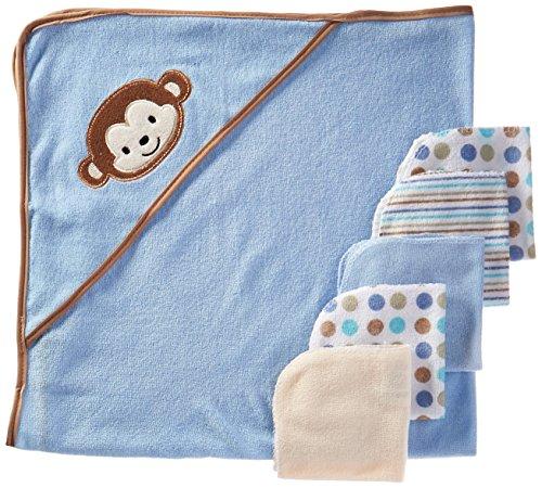 regent-baby-crib-mates-asciugamano-con-cappuccio-con-5lavette-scimmia-blu-rosa