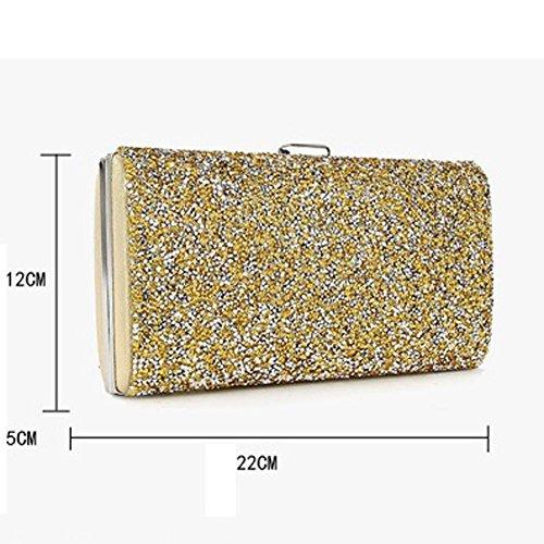 Mode Damen Glitter Clutch Bag Abend Braut Prom Party Handtasche Silber Gold Black Geldbörse. 22 X 12 X 5 Cm gold