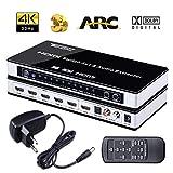 Tendak HDMI Switch HDMI Umschalter 4K HDMI Verteiler HDMI Switch 5 HDMI Schalter 5 auf 1 mit SPDIF und L/R Audio Extractor mit Fernbedienung Unterstützt Arc HDMI 1,4