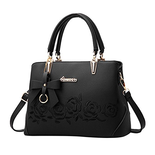 TianWlio Handtasche Damen Mode Bowknot Rose Muster Crossbody Bag Schultertasche Handtasche Schwarz