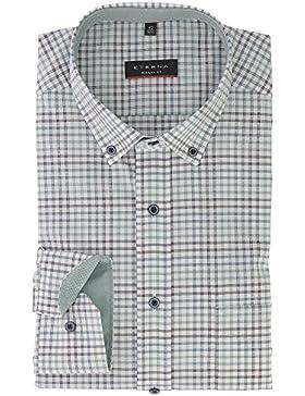 ETERNA Herren Langarmhemd aus 100% Baumwolle Modern Fit mit Button Down Kragen leicht tailliert geschnitten Weiß...