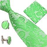 Herren Krawatte Jacquard Element Pocket Handtuch Manschettenknöpfe Trio Set Feine Produkte (Grün)