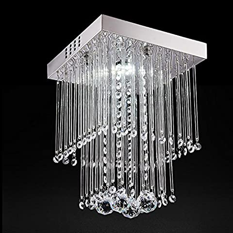 Modern Fashion Romantic Chandelier Square Clear Double Layer Crystal Pendant Ceiling Light Stainless Steel Fixture L25cm W25cm H28cm