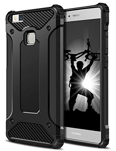 Huawei P9 Lite Hülle, Coolden® Outdoor Stossfest Amor Case Robust Display & Kamera Schutz Handyhülle Anti Dust Design Militärischer Schutz Handytasche für Huawei P9 lite Smartphone Schwarz