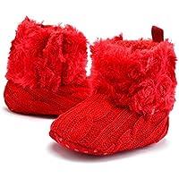 OULII Zapatos Antideslizantes Suaves del Bebé del Pie Botas Calientes del Invierno Zapatos Infantiles del Pesebre del Niño Tamaño 11cm Para Bebés 0-6 Meses (Rojo)