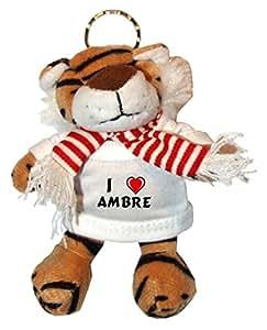 Tigre en peluche porte-clé avec J'aime Ambre (prénom/nom/surnom)