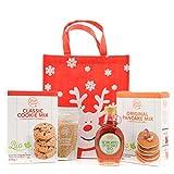 Confezione regalo in juta con sciroppo d'acero BIO, zucchero d'acero e preparato per pancake BIO e cookie BIO - IDEA REGALO