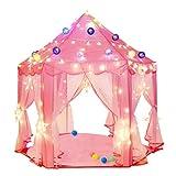 Tienda de juegos para niños Great Princess Castle Playhouse para niños con 50 estrellas de luces LED, uso interior y exterior