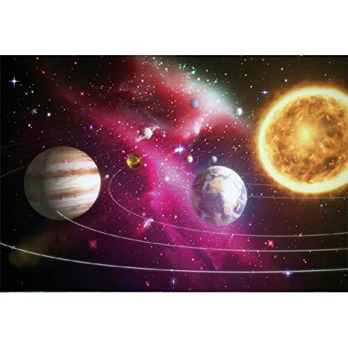 YongFoto 3x2m Vinile Fondale Foto Sun Moon Earth l\'universo Sognante Cielo stellato Stelle Sfondo fotografico compleanno Fotografia Sfondi per foto Partito Studio Puntelli carta da parati