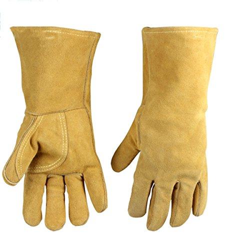 ANHPI Schweißerhandschuhe Ultra-isolierte Hochtemperatur-Soft-Leder-Feuerschutzhandschuhe,Yellow-L