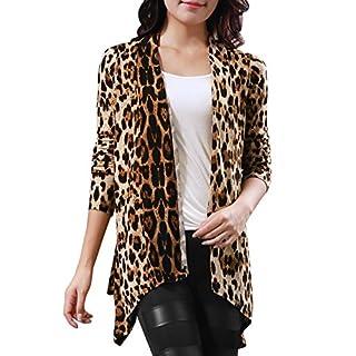 Allegra K Women Leopard Prints Long Sleeve Open Front Cardigan L Beige Coffee