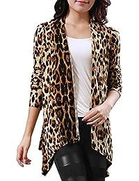 Allegra K Allegra K Mujer Chaqueta Cárdigan largo con estampado de leopardo