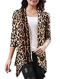 Allergra K Damen Leopard Muster Öffnung langarm Herbst Strickjacke Cardigan, Beige,Coffee, EU 36