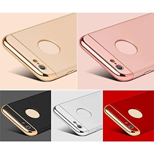 KOBWA IPhone 6 6S Hülle, 3-Teilige Styliche Extra Dünne Harte Galvanisieren Edge Case Schutzhülle für IPhone 6 6S Kratzfeste Rutschfeste Rundum Schutz Tasche Cover Rot Gold