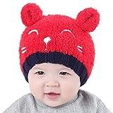 Baby Sannysis Babybekleidung Hüte & Mützen Sannysis Baby Mädchen Jungen Wintermütze Baumwollemütze Unisex Baby Winter Hüte Strick Wolle Mütze(1-3 Jahre) (Rot)