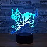 Running Rush Wolf 3D Ilusión óptica Luz de mesa Lámpara de humor...