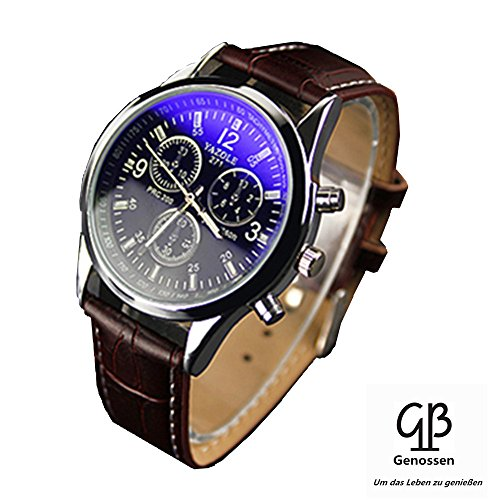 chianrliu de lujo Mode piel sintética Hombre Blue Ray vidrio Quartz Analógico Relojes marrón