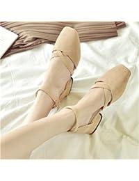 GAOLIM Summer Party Cabeza Ranurada Único Amarre Los Zapatos, Zapatos De Mujer Con Sandalias Casuales Salvajes...