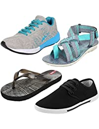 Earton Men Combo Pack of 4 Sports Shoes,Casual Shoes With Sliper & Sandals