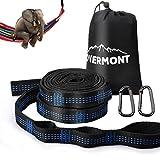 Overmont Kit Corda da Amaca Cinturino Cinghie per Amaca Hammock Rope per Amaca Outdoor 300cmx2.5cmx2mm con 18 Nodi e Moschettoni a Forma di D