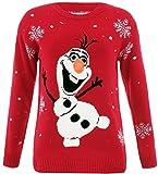 Nuevo tamaño unisex Damas Hombres Punto Navidad Jumper Rudolph Reindeer Pingüino lindo de la novedad de Navidad suéter 36-42 (S/M 36-38, Frozen Olaf rojo)