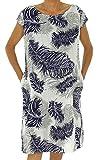 Mein Design Lagenlook de Mallorca Damen Kleid IC700W Leinen Gemustert Ärmelchen One Size Etuikleid Vintage Gr. 40, 42, 44 weiß
