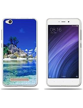 Funda Xiaomi Redmi 4a Carcasa Protectora de Silicona de Calidad Superior -FUBAODA- Hermoso Dibujo de una Playa...