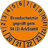 LEMAX® Prüfplakette Brandschutztür 20-23, orange, Dokumentenfolie, Ø 30mm, 18/Bogen