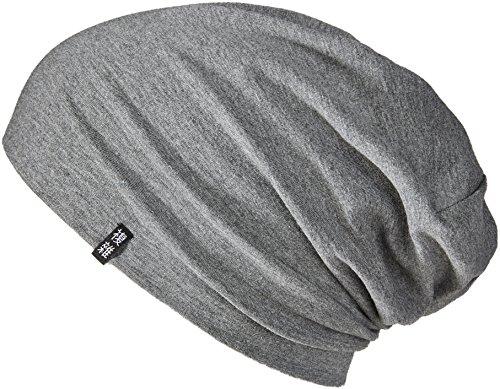 Enter the Complex Leichte Jersey Mütze, Damen und Herren, Slouch Beanie aus Baumwolle, Elastisch, L/XL, Dunkel Grau Meliert