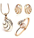 Youbella Crystal Combo Gold Plated Pendant Necklace Set, Bangle Bracelet And Earrings For Women And Girls