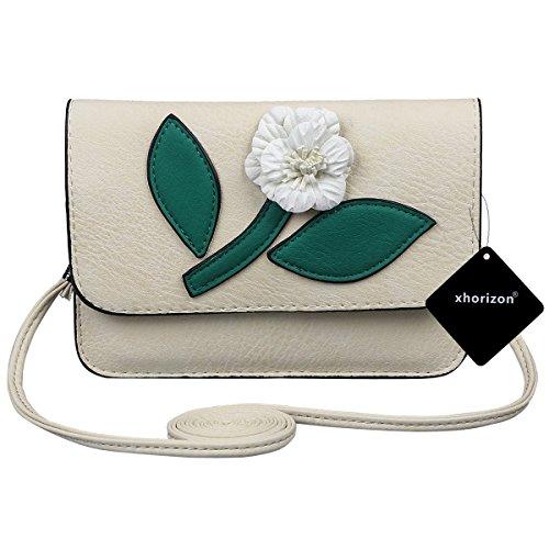 xhorizon Süße Mini-Schultertasche, Crossbody-Tasche aus PU-Leder mit Muster von 3D-Blumen, Handyetui #6