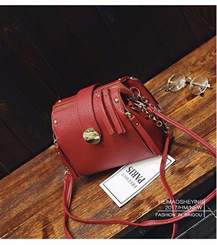 Weibliche mode Eimer kleine tasche einzigen Schulter messenger bag multifunktions-paket Rot