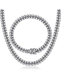 Davieslee 8–14 mm Femme Homme Ensemble de Bijoux Collier Bracelet gourmette  Miami cubain Chaîne 2c2da248c93