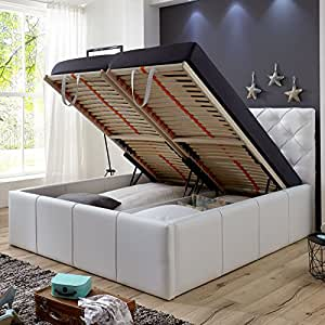 polsterbett bett mit bettkasten 140x200 wei xxl nelly lattenrost doppelbett kunstleder amazon. Black Bedroom Furniture Sets. Home Design Ideas