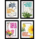 FATMUG Framed Wall Paintings Inspiring Quotes for Office and Home -Set of 4
