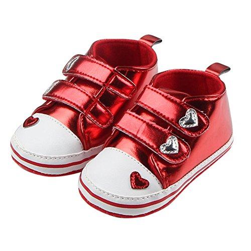 MiyaSudy Babyschuhe Mädchen Jungen Heart Muster Rutschfest Weiche Sohle Klettband Sneaker Schuhe Rot