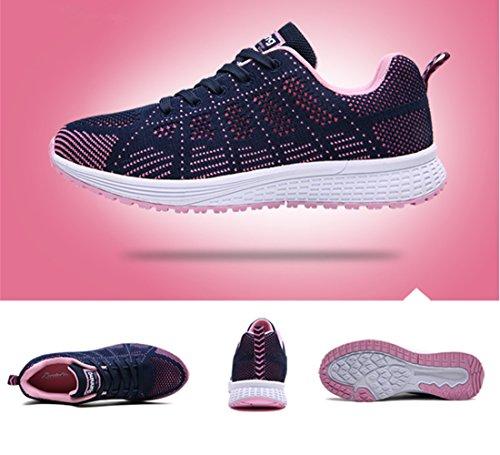 UMmaid Femmes Chaussures de Course Sports Lacets Mesh Respirante Fitness Gym Running Baskets Bleu foncé